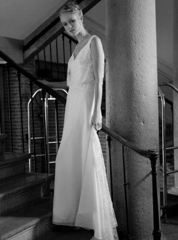 Robe avec jupe en mousseline unie/ tulle brodé pailleté, ivoire